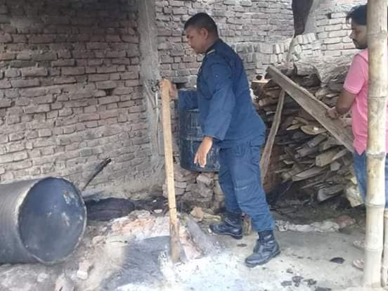 घरेलु मदिरा सहित तीन वटा भट्टी नष्ट